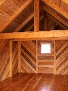 Intiorer post & beam cabin built by greenleaf forestry craftsmen