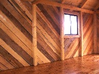 Douglas-fir flooring in post and beam cabin built by greenleaf forestry