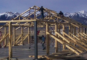 Westcliffe roudwood pavilion framework built by greenleaf forestry craftsmen